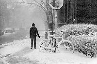 UNDATED  FILE PHOTO - Snow storm  in the seventies.<br /> <br /> <br /> Photo : Alain Renaud<br />  - Agence Quebec Presse
