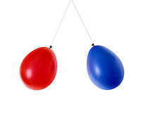 STATIC ELECTRICITY: CHARGED BALLOONS<br /> Repel Each Other<br /> Suspended balloons -negatively charged by rubbing w/wool- repel each other