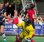 AMSTELVEEN  - Maxime Kerstholt (Lar) heeft gescoord,  hoofdklasse hockeywedstrijd dames Pinole-Laren (1-3).  COPYRIGHT  KOEN SUYK