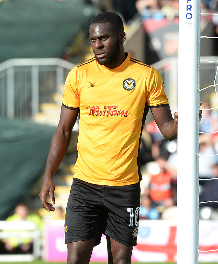 Newport County's Frank Nouble during the game <br /> <br /> Photographer Ian Cook/CameraSport<br /> <br /> The EFL Sky Bet League Two - Newport County v Wycombe Wanderers - Saturday 9th September 2017 - Rodney Parade - Newport<br /> <br /> World Copyright &copy; 2017 CameraSport. All rights reserved. 43 Linden Ave. Countesthorpe. Leicester. England. LE8 5PG - Tel: +44 (0) 116 277 4147 - admin@camerasport.com - www.camerasport.com