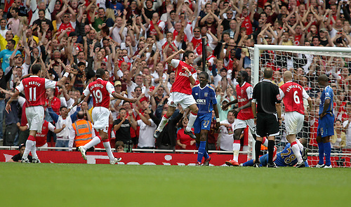 2 September 2007: Arsenal midfielder Cesc Fabregas celebrates his goal during the Premier League game between Arsenal and Portsmouth, played at The Emirates Stadium. Arsenal won the match 3-1. Photo: Actionplus....070902 football soccer player premiership francesc