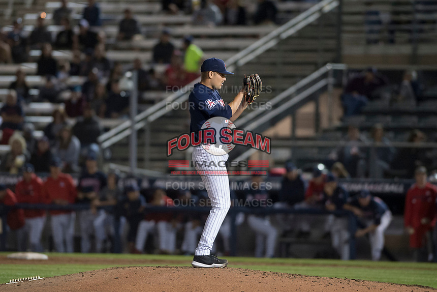 University of Arizona Wildcats starting pitcher Cody Deason (15) looks to his catcher for the sign during a game against the North Dakota State University Bison at Hi Corbett Field on March 9, 2018 in Tucson, Arizona. (Zachary Lucy/Four Seam Images)