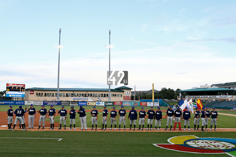 20 September 2012: Team France stands during the players introduction prior to Spain 8-0 win over France, at the 2012 World Baseball Classic Qualifier round, in Jupiter, Florida, USA.