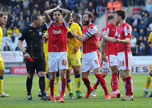 02.04.2016. New York Stadium, Rotherham England.  Sky Bet Championship Rotherham versus Leeds United. Rotherhams Matt Derbyshire reaction after being shown the red card