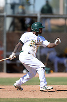 Oakland Athletics outfielder B.J. Boyd (26) during an Instructional League game against the Chicago Cubs on October 16, 2013 at Papago Park Baseball Complex in Phoenix, Arizona.  (Mike Janes/Four Seam Images)