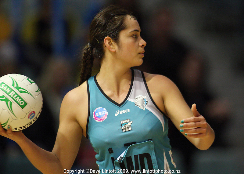 Thunderbirds wing defence Joanne Sutton during the ANZ Netball Championship match between the Waikato Bay of Plenty Magic and Adelaide Thunderbirds, Mystery Creek Events Centre, Hamilton, New Zealand on Sunday 19 July 2009. Photo: Dave Lintott / lintottphoto.co.nz