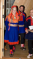 Crown Prince Haakon & Crown Princess Mette Marit of Norway on a two day visit to Finnmark in Norway, visit The Sami Parliament in Karasjok, Finnmark, Northern Norway