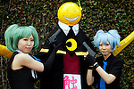 """Cosplayers pose for a picture during Anime Japan 2015 on March 21, 2015 in Tokyo, Japan. Anime Japan 2015 brings together all aspects of the """"anime"""" industry offering an opportunity for visitors get close to creators, voice actors, idol groups, and cosplayers, and to learn about the industry. This is the second year that the exhibition is being held at Tokyo Big Sight. Organizers estimated that approximately 100,000 visitors attended in 2014 and similar huge numbers are expected this year. The exhibition is open on March 21st and 22nd. (Photo by Rodrigo Reyes Marin/AFLO)"""