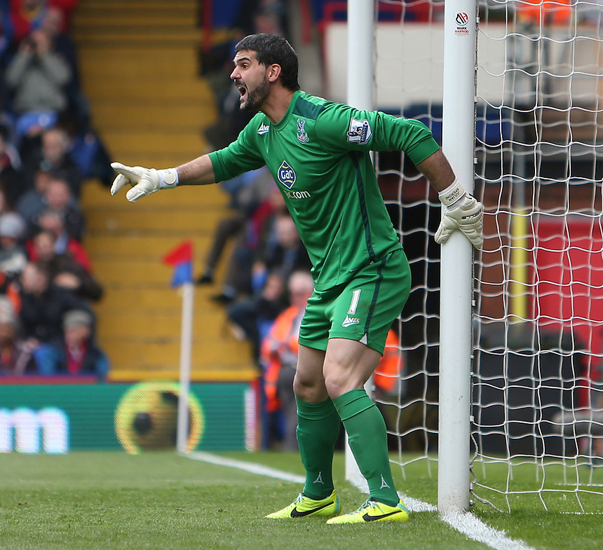 Crystal Palace's Julian Speroni<br /> Photo by Kieran Galvin/CameraSport<br /> <br /> Football - Barclays Premiership - Crystal Palace v Manchester City - Sunday 27th April 2014 - Selhurst Park - London<br /> <br /> &copy; CameraSport - 43 Linden Ave. Countesthorpe. Leicester. England. LE8 5PG - Tel: +44 (0) 116 277 4147 - admin@camerasport.com - www.camerasport.com