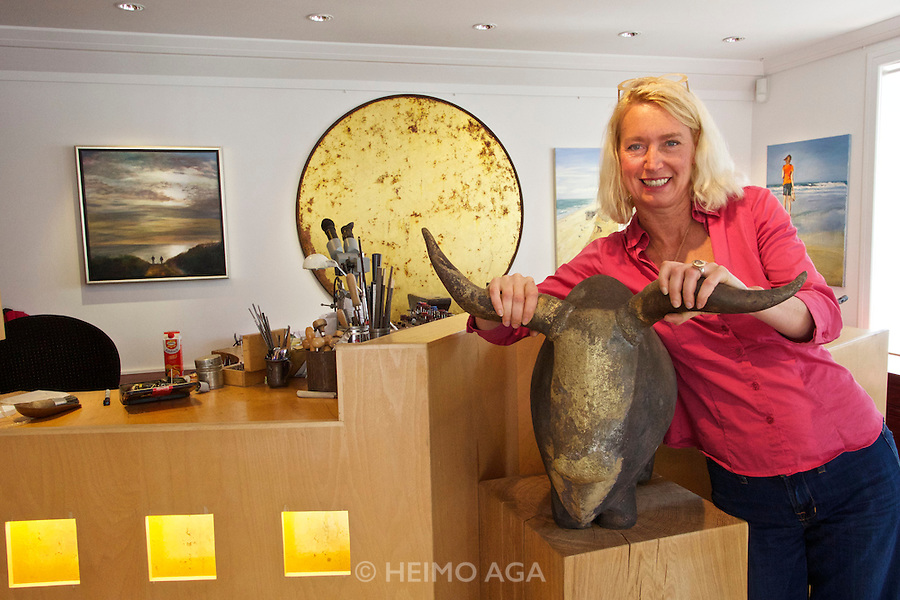 Sylt, Germany. Keitum. Birgit Damer at her gold jewelry shop.