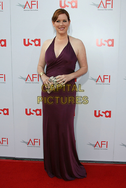 MOLLY RINGWALD.36th Annual AFI Life Achievement Award at the Kodak Theatre, Hollywood, California, USA, 12 June 2008 .full length purple aubergine dress long maxi gold clutch bag.CAP/ADM/MJ.©Michael Jade/Admedia/Capital Pictures