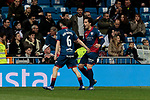 SD Huesca's players celebrate goal during La Liga match between Real Madrid and SD Huesca at Santiago Bernabeu Stadium in Madrid, Spain. March 31, 2019. (ALTERPHOTOS/A. Perez Meca)