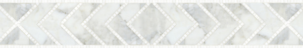 """Vincent, a natural stone waterjet and hand cut 6 1/2"""" mosaic border shown in honed Calacatta Tia and polished Thassos, is part of the Silk Road® collection by New Ravenna."""