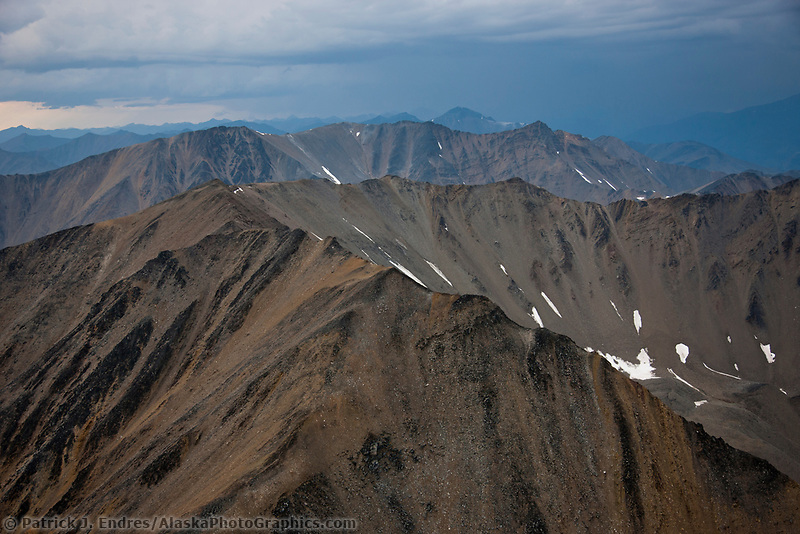 Aerial of the Philip Smith Mountains in the Arctic National Wildlife Refuge, Brooks Range mountains, Alaska.