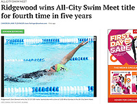 Ridgewood's Sara Stewart, 17, wins the 15-19 year-old 100-meter backstroke with a time of 1:03.48 to set an All-City meter-pool record during 2019 All-City Swim and Dive on Sunday, 8/4/19 at West Side Swim Club in Madison, Wisconsin | Wisconsin State Journal article front page Sports 8/5/19 and online at https://madison.com/wsj/sports/ridgewood-wins-all-city-swim-meet-title-for-fourth-time/article_bec4be1b-ef2d-5233-a418-76284e704cef.html