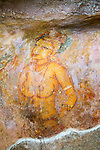Rock painting frescoes of maidens in the palace fortress, Sigiriya, Central Province, Sri Lanka, Asia