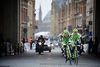 Gent-Wevelgem 2013.Peter Sagan (SVK) escorted through Ieper by teammate Maciej Bodnar (POL).