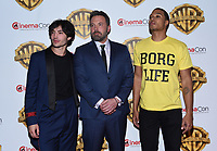 Ezra Miller + Ben Affleck + Ray Fisher @ the photocall for WB films presentation held @ The Colosseum at Caesars Palace.<br /> March 29, 2017 , Las Vegas, USA. # CINEMA CON 2017 - PHOTOCALL WB STUDIOS