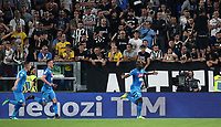 Calcio, Serie A: Juventus - Napoli, Torino, Allianz Stadium, 22 aprile, 2018.<br /> Napoli's Kalidou Koulibaly (r) celebrates after scoring with his teammates during the Italian Serie A football match between Juventus and Napoli at Torino's Allianz stadium, April 22, 2018.<br /> UPDATE IMAGES PRESS/Isabella Bonotto