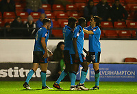 Jordy Hiwula of Fleetwood Town celebrates his first goal with team mates during the Sky Bet League 1 match between Walsall and Fleetwood Town at the Banks's Stadium, Walsall, England on 21 November 2017. Photo by Leila Coker.