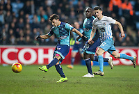 Scott Kashket of Wycombe Wanderers hits a shot at goal during the The Checkatrade Trophy - EFL Trophy Semi Final match between Coventry City and Wycombe Wanderers at the Ricoh Arena, Coventry, England on 7 February 2017. Photo by Andy Rowland.
