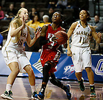 SIOUX FALLS MARCH 22:  Briana Burgins #3 of Francis Marion drives past AlyshaDevine #15 of Alaska Anchorage during their quarterfinal game at the NCAA Women's Division II Elite 8 Tournament at the Sanford Pentagon in Sioux Falls, S.D.  (Photo by Dick Carlson/Inertia)