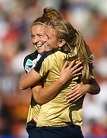 USA goal scorer Courtney Verloo celebrates with team mate Kristie Mewis..FIFA U17 Women's World Cup, USA v Korea Republic, Waikato Stadium, Hamilton, New Zealand, Sunday 9 November 2008. Photo: Renee McKay/PHOTOSPORT