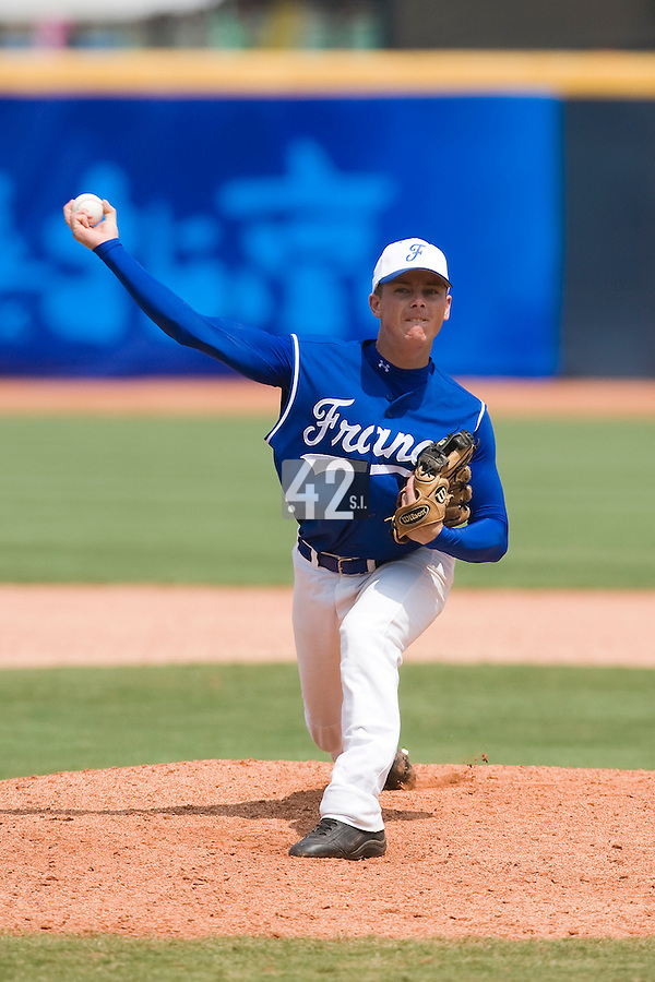 23 August 2007: Pitcher #6 Anthony Piquet pitches during the France 8-4 victory over Czech Republic in the Good Luck Beijing International baseball tournament (olympic test event) at the Wukesong Baseball Field in Beijing, China.