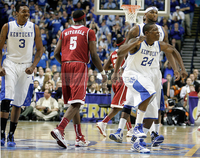 Freshman guard Eric Bledsoe reacts after making a lay up during the second half of the UK men's basketball team's 73-67 win over Alabama in the quarterfinals of the SEC tournament at the Sommet Center Friday, March 12, 2010. Photo by Britney McIntosh | Staff