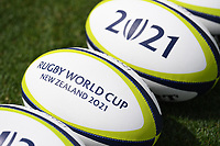 4th February 2020, Eden Park, Auckland, New Zealand;  Rugby balls with the RWC New Zealand 2021 logo.<br /> RWC 2021 New Zealand Kick-Off event at Eden Park, Auckland, New Zealand on Tuesday 4th February 2020.