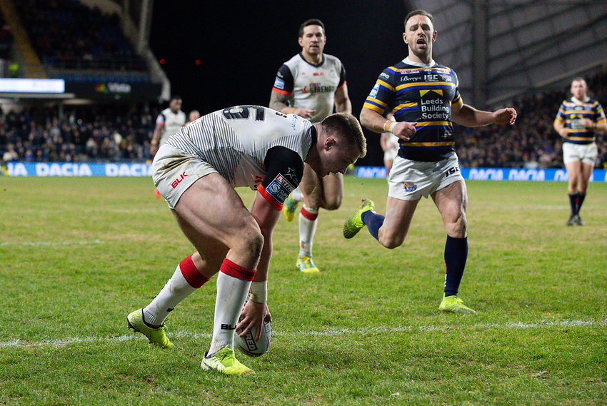 Toronto Wolfpack's Jack Wells scores his side's second try<br /> <br /> Photographer Alex Dodd/CameraSport<br /> <br /> Betfred Super League Round 6 - Leeds Rhinos v Toronto Wolfpack - Thursday 5th March 2020 - Headingley - Leeds<br /> <br /> World Copyright © 2020 CameraSport. All rights reserved. 43 Linden Ave. Countesthorpe. Leicester. England. LE8 5PG - Tel: +44 (0) 116 277 4147 - admin@camerasport.com - www.camerasport.com