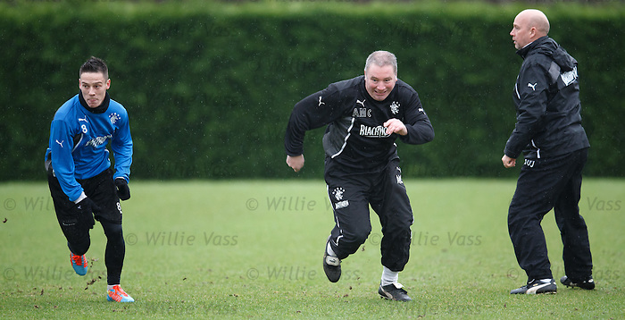 Ally McCoist neck and neck with Ian Black and the other players in a sprint