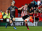 Jack O'Connell of Sheffield Utd clears under pressure from Teemu Pukki of Norwich Cityduring the Premier League match at Bramall Lane, Sheffield. Picture date: 7th March 2020. Picture credit should read: Simon Bellis/Sportimage