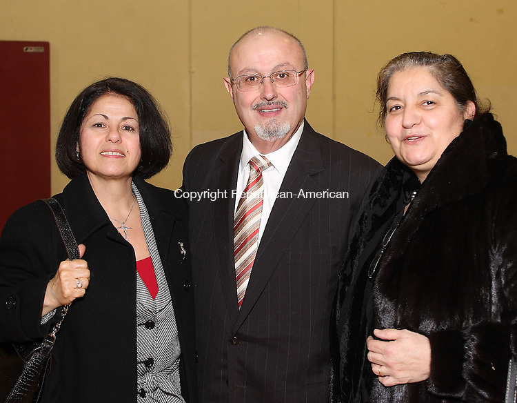 Waternury, CT-26 January 2008-012608MK24   (From Left) Paula and Doctor Gabriel Hakim and Doctor Dada Jabbour gathered at the Holy Trinity Greek Orthodox Church to honor the pastor Rev. Stephen Natsis and his 50th anniversary in the priesthood (Paula and Doctor Gabriel Hakim and Doctor Dada Jabbour  )CQ