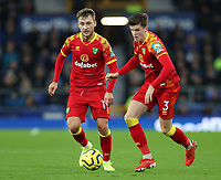 23rd  November 2019; Goodison Park , Liverpool, Merseyside, England; English Premier League Football, Everton versus Norwich City; Sam Byram of Norwich City and Tom Trybull of Norwich City win the ball and set up an attack - Strictly Editorial Use Only. No use with unauthorized audio, video, data, fixture lists, club/league logos or 'live' services. Online in-match use limited to 120 images, no video emulation. No use in betting, games or single club/league/player publications