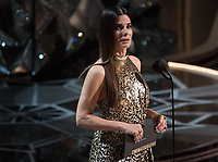 Sandra Bullock presents the Oscar&reg; for achievement in cinematography during the live ABC Telecast of The 90th Oscars&reg; at the Dolby&reg; Theatre in Hollywood, CA on Sunday, March 4, 2018.<br /> *Editorial Use Only*<br /> CAP/PLF/AMPAS<br /> Supplied by Capital Pictures