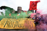 Rome, Italy, April 2016<br />  Demonstration for the 71th anniversary of liberation from Nazi-fascism.<br /> Partisans and young people marching to Porta San Paolo symbol of the liberation of Rome, on April 25, 2016 in Rome, Italy. (Photo by Simona Granati/Corbis via Getty Images)