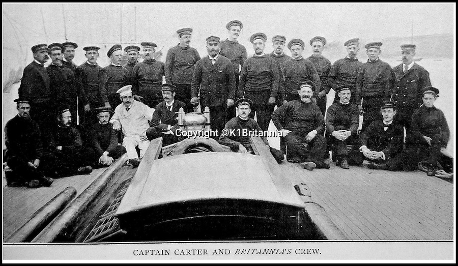 BNPS.co.uk (01202 558833)<br /> Pic: K1BritanniaT/BNPS<br /> <br /> ***Please Use Full Byline***<br /> <br /> The first crew of the Britannia, 1893. <br /> <br /> An 8 million pounds appeal has been launched to resurrect one of the most famous and best loved racing yachts of all time - the 'King's yacht' Britannia.<br /> <br /> The historic 177ft yacht was built for playboy prince Albert in 1893 and became an instant star of the sailing scene, winning 33 of 43 prestigious races  in her first year alone.<br /> <br /> The stunning Royal yacht became known the world over and enjoyed an illustrious racing career at the hands of Albert, who went on to become King Edward VII.<br /> <br /> Edward's son George V continued the love affair with Britannia, dubbed 'the King's yacht', so much so that on his death in 1936 she was deliberately sunk off the Isle of Wight.<br /> <br /> Now, 78 years on, campaigners are nearing the final stages of a project to complete an an inch-perfect replica of Britannia which has been 20 years in the making.<br /> <br /> The instantly recognisable hull is finished but around six million pounds is needed to transform it into a yacht worthy of Royalty. <br /> <br /> The yacht, which will cost an extra one million pounds a year to run, will then be taken all round the world so it can be enjoyed by charities and future generations.