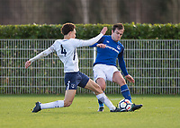 Jose Baxter of Everton battles with Luke Amos of Tottenham Hotspur during the U23 - Premier League 2 match between Tottenham Hotspur U23 and Everton at Tottenham Training Ground, Hotspur Way, England on 15 January 2018. Photo by Vince  Mignott / PRiME Media Images.