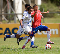 John Ruiz (9) of Costa Rica shoots the ball past  Victorino Zelaya (3) of El Salvador during the group stage of the CONCACAF Men's Under 17 Championship at Jarrett Park in Montego Bay, Jamaica. Costa Rica defeated El Salvador, 3-2.