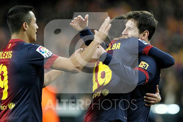 FC Barcelona's Alexis Sanchez, Sergio Busquets and Leo Messi celebrate goal during La Liga match.December 16,2012. (ALTERPHOTOS/Acero)