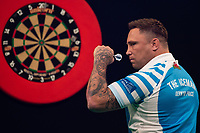 27th October 2019, Gottingen, Lower Saxony, Germany:  PDC European Championships; Semi-final rounds. Gerwyn Price from England gestures in the game against Smith. Price  reached the final after his win