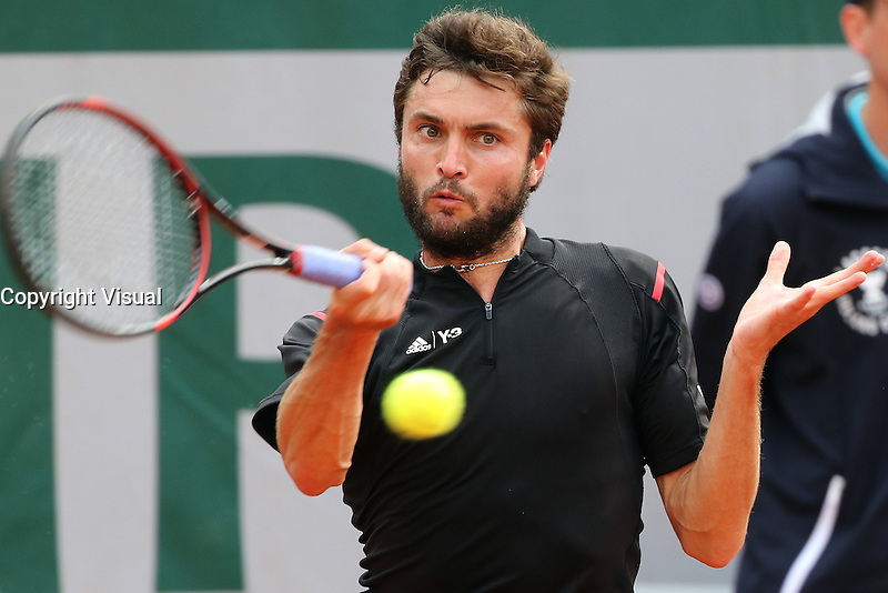 Gilles Simon (Fra. ) playing at Roland Garros tennis open 2016.