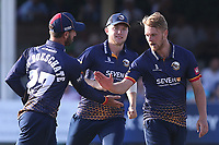Jamie Porter of Essex celebrates with his team mates after taking the wicket of Phil Salt during Essex Eagles vs Sussex Sharks, Vitality Blast T20 Cricket at The Cloudfm County Ground on 4th July 2018