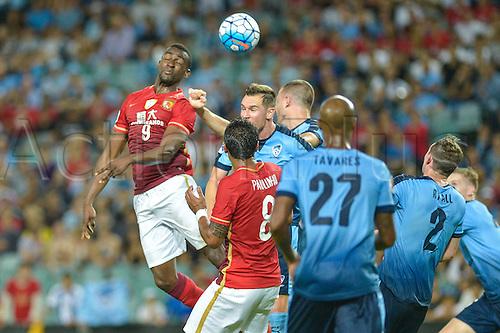 02.03.2016. Sydney, Australia. AFC Champions League. Sydney versus Guangzhou Evergrande. Evergrande forward Jackson Martinez wins a header. Sydney won the game 2-1.