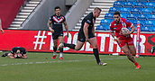 10th February 2019, AJ Bell Stadium, Salford, England; Betfred Super League rugby, Salford Red Devils versus London Broncos; Ken Sio of Salford Red Devils scores the opening try for Salford