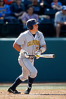 Jacob Wark #51 of the California Golden Bears bats against the UCLA Bruins at Jackie Robinson Stadium on March 23, 2013 in Los Angeles, California. (Larry Goren/Four Seam Images)