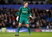 30th November 2019; Stamford Bridge, London, England; English Premier League Football, Chelsea versus West Ham United; Goalkeeper David Martin of West Ham United  - Strictly Editorial Use Only. No use with unauthorized audio, video, data, fixture lists, club/league logos or 'live' services. Online in-match use limited to 120 images, no video emulation. No use in betting, games or single club/league/player publications