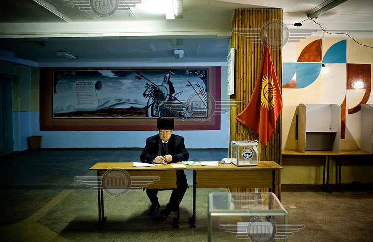 The day of the Parliamentary elections in a village around Bishkek. The elections contained many irregularities. .The entire opposition got only seven seats out of 89, with the largest opposition party not winning any seats.