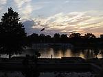 East Meadow, New York, USA. Summer 2017. Eisenhower Park pond area, with Nassau County Eisenhower Park September 11, 2001 Memorial on west side of pond and War Memorials on east side of pond.